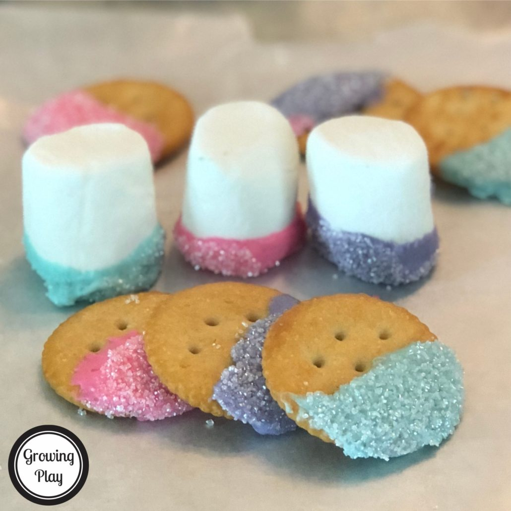 If you are looking for a tasty unicorn themed dessert, check out these kid created unicorn treats. They are so simple to make and all ages enjoy eating them. I don't always love super sweet desserts and the cracker cookies are a great combination of salty and sweet chocolate. The marshmallows are on the sweeter side for sure but low in calories.