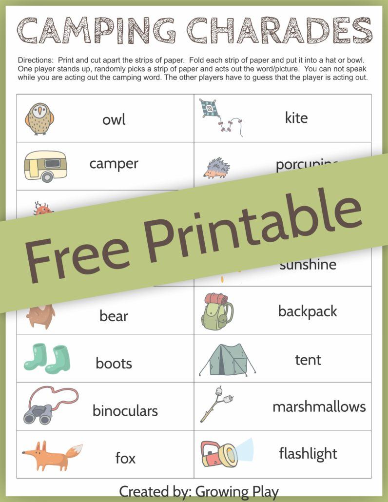 picture about Charades for Kids Printable called Tenting Charades Match for Little ones - No cost Printable - Expanding Perform