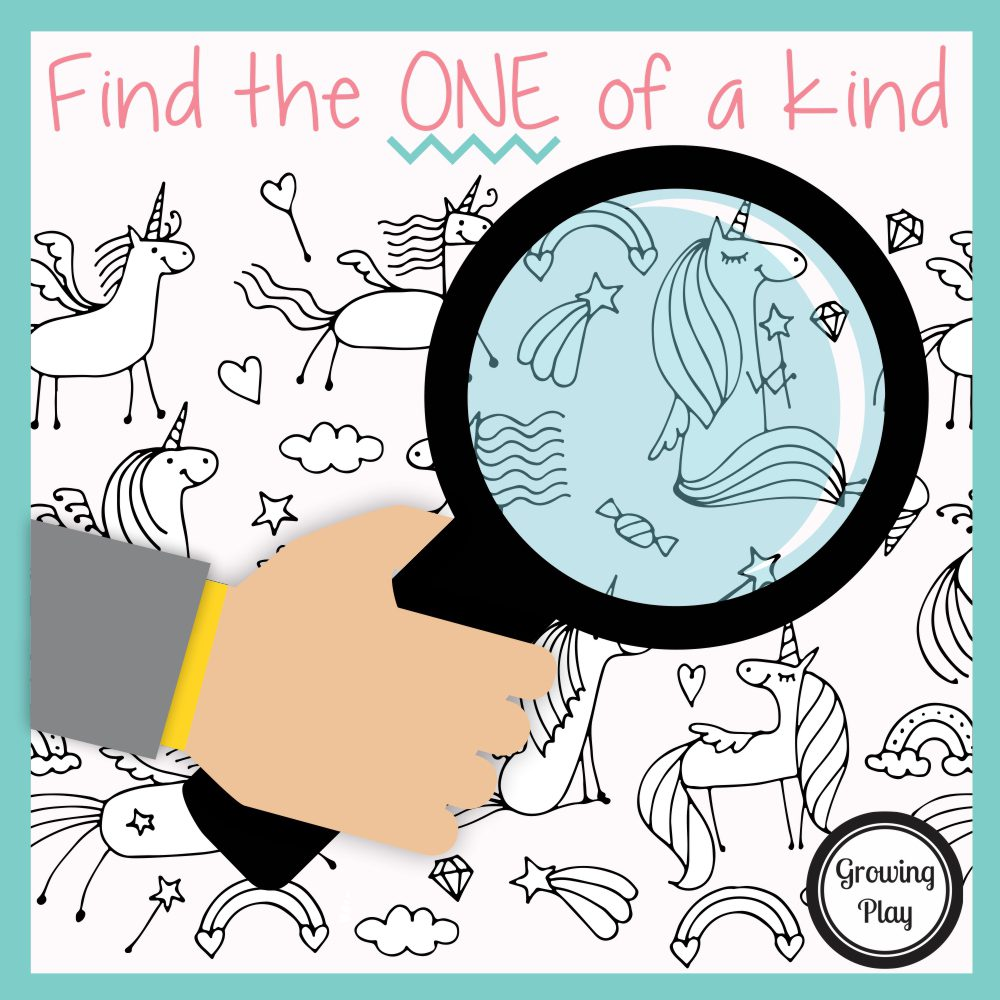 Challenge yourself to see if you can find the ONE and the ONLY unicorn in the picture that is unique with this one of a kind unicorn puzzle freebie.