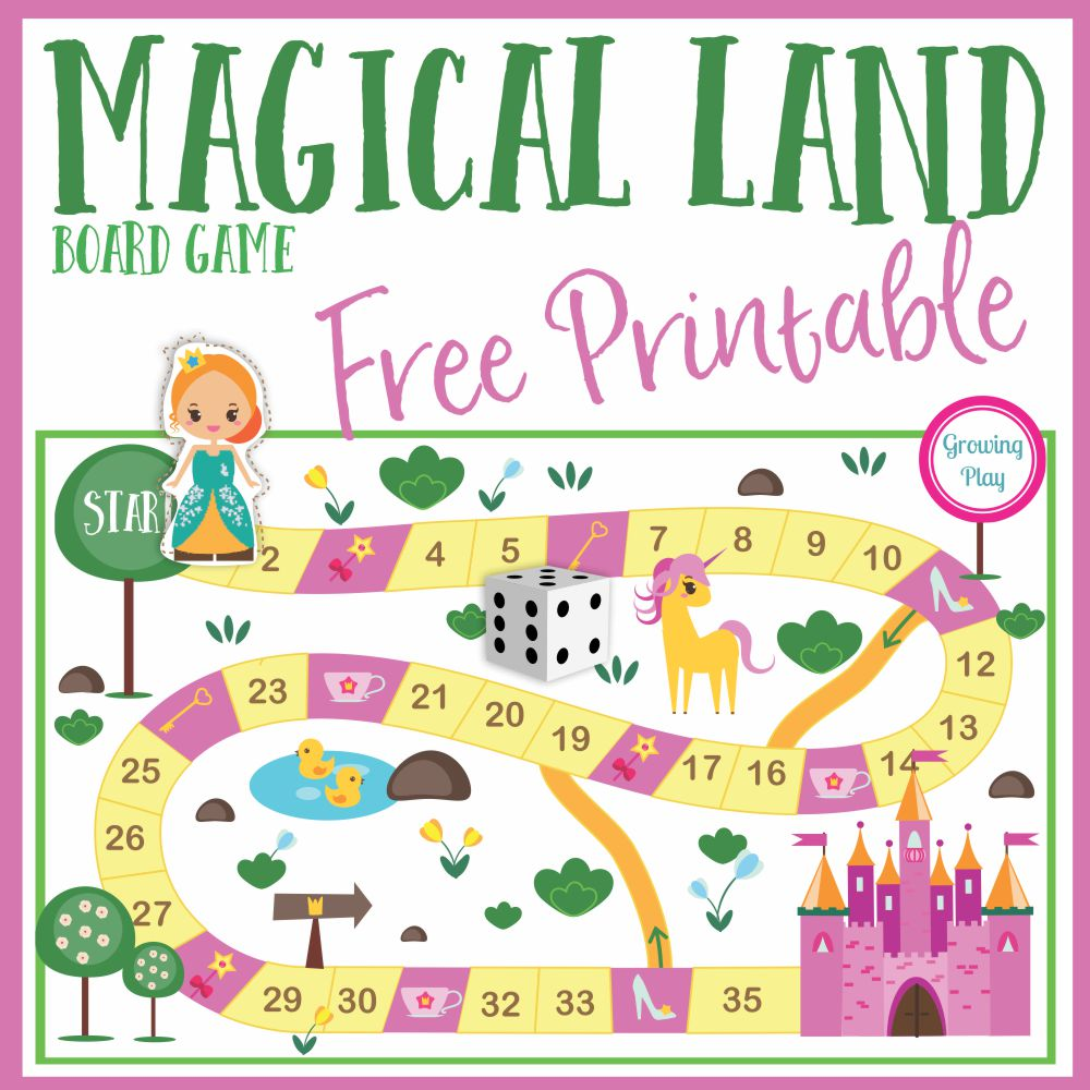 graphic relating to Printable Board Games known as Magical Land Board Sport Absolutely free Printable - Developing Perform
