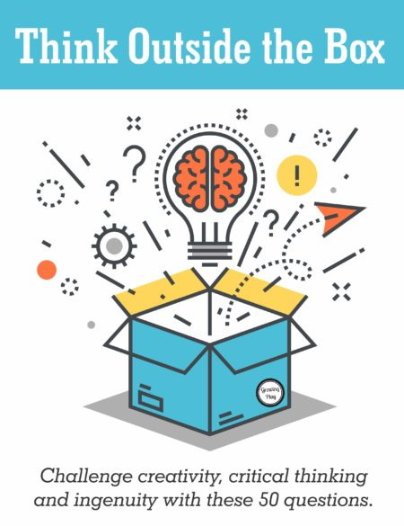 Think Outside the Box digital download challenges creativity, critical thinking, and ingenuity with 50 different questions to ponder and respond.