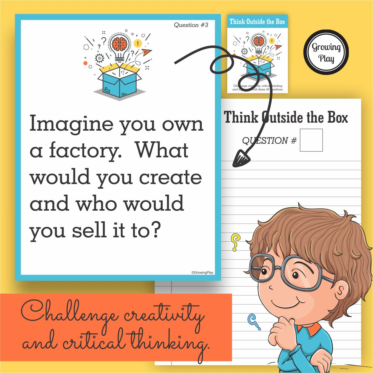 Do you want to challenge creativity and critical thinking in children?  Does your child get bored easily with regular school assignments or requirements?  This free sample activity from Think Outside the Box helps children to use the imagination, creativity, critical thinking and written expression skills.