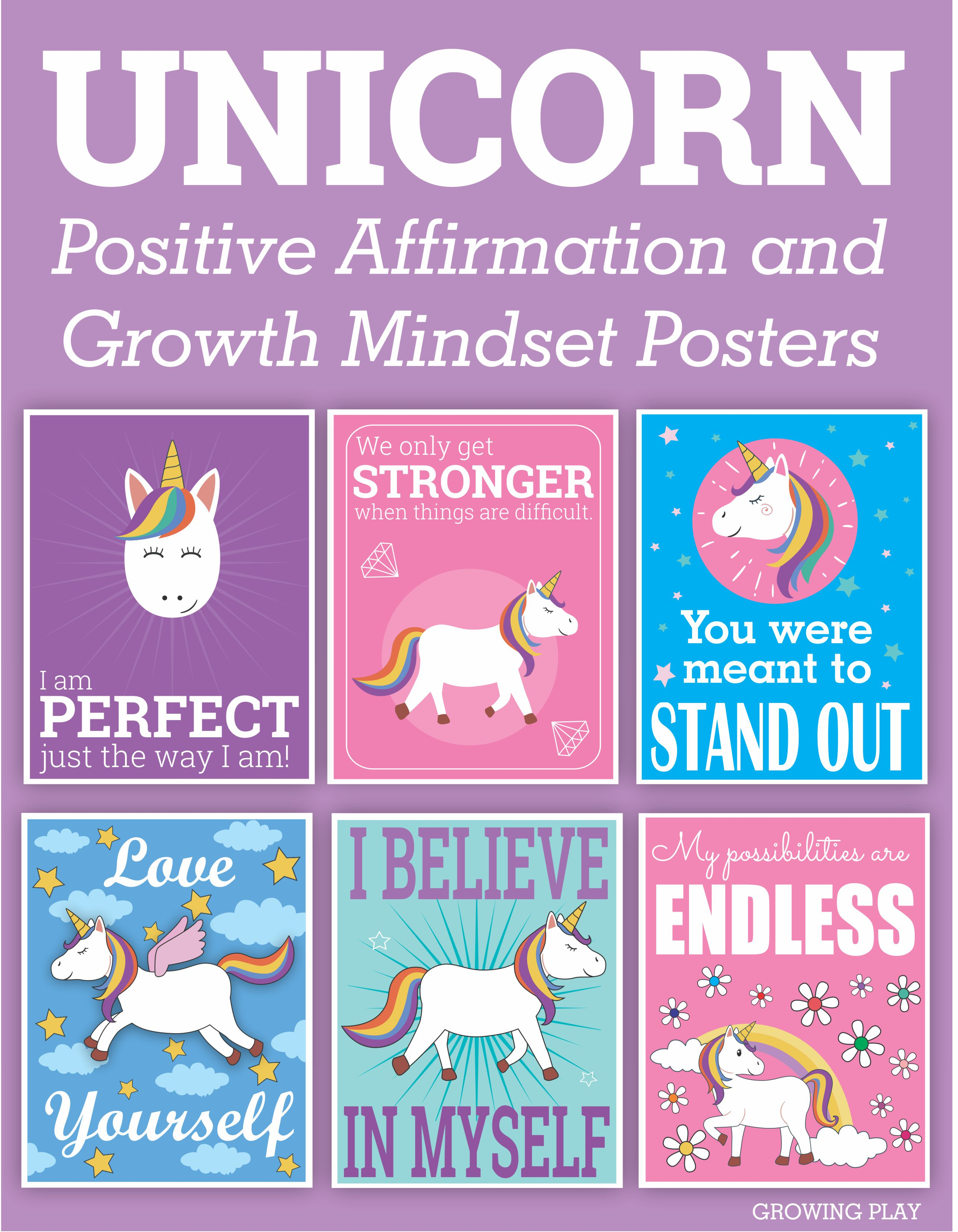 image relating to Free Printable Affirmation Cards identified as Unicorn Favourable Confirmation and Improvement Mentality Posters