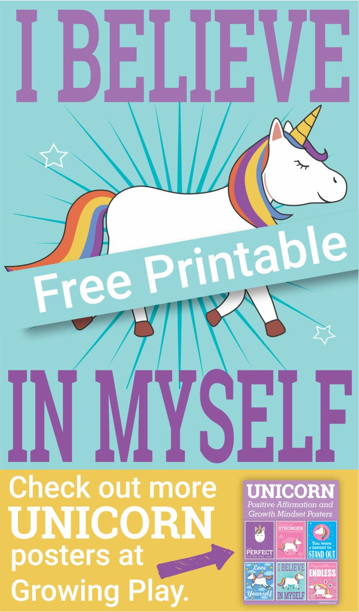 Have you ever had days where you doubt yourself? Who hasn't right?  Especially as a young child or teenager trying something for the first time.  It can be hard to have the self-confidence in yourself to believe that you will succeed.  This unicorn self-confidence poster is FREE from Growing Play and it helps to remind us all to believe in ourselves.