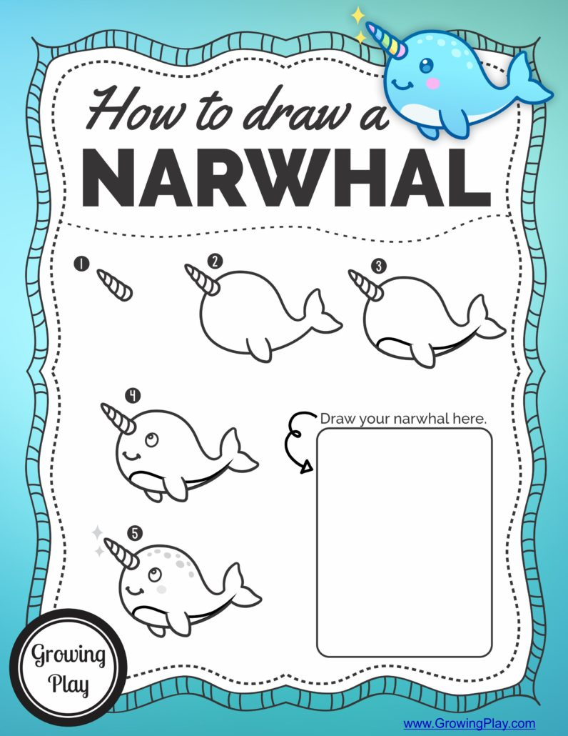 Isn't this narwhal just adorable?  I thought it was super cute and easy to draw.  Here is a simple one page printable to download (see below) where you can follow the step by step directions to learn how to draw a narwhal