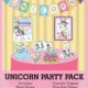 The Unicorn Party Printables digital download includes an invitation, party hats, water bottle labels, cupcake toppers, photo frame, party banner, treat bag toppers, and thank you card.