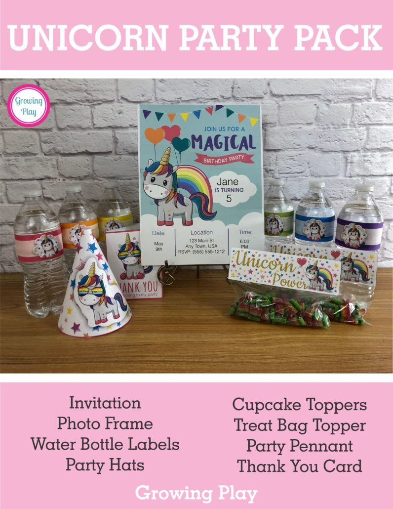 Unicorn Party Pack from Growing Play