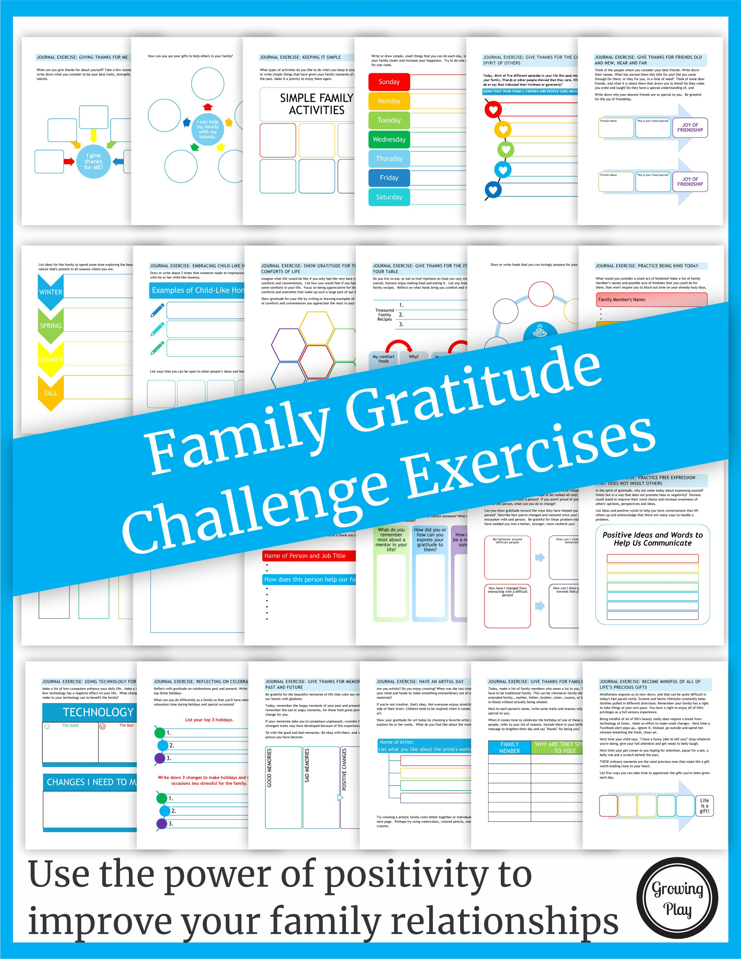 The Family Gratitude Challenge digital download includes 25 gratitudeactivities to use the power of positivity to improve your family relationships.