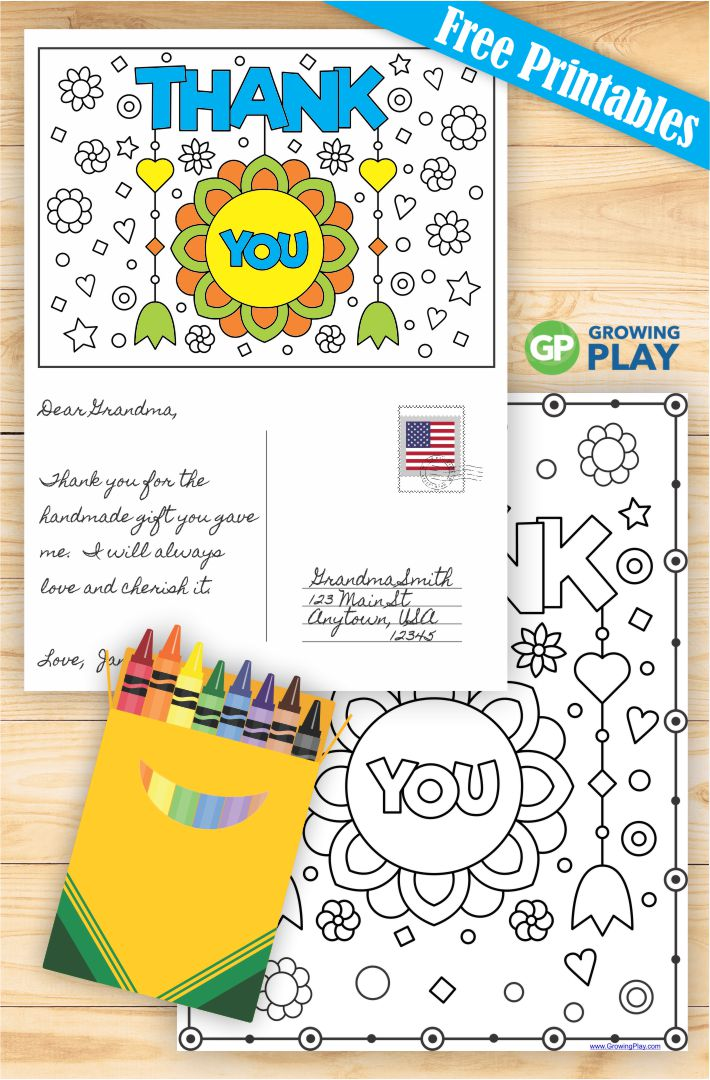 Free Printable Thank You Cards To Color Growing Play
