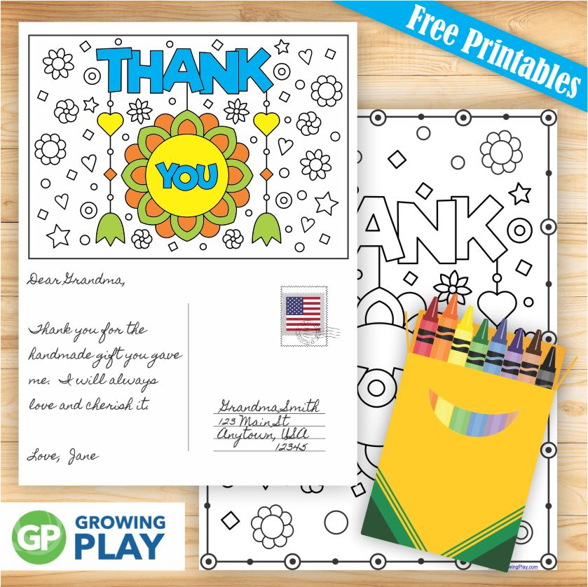 "Are you in search of free printable thank you cards to color?  These two black and white options are perfect!  Show your gratitude and thanks to someone by coloring in the whimsical thank you postcard or the full page thank you ""poster""."
