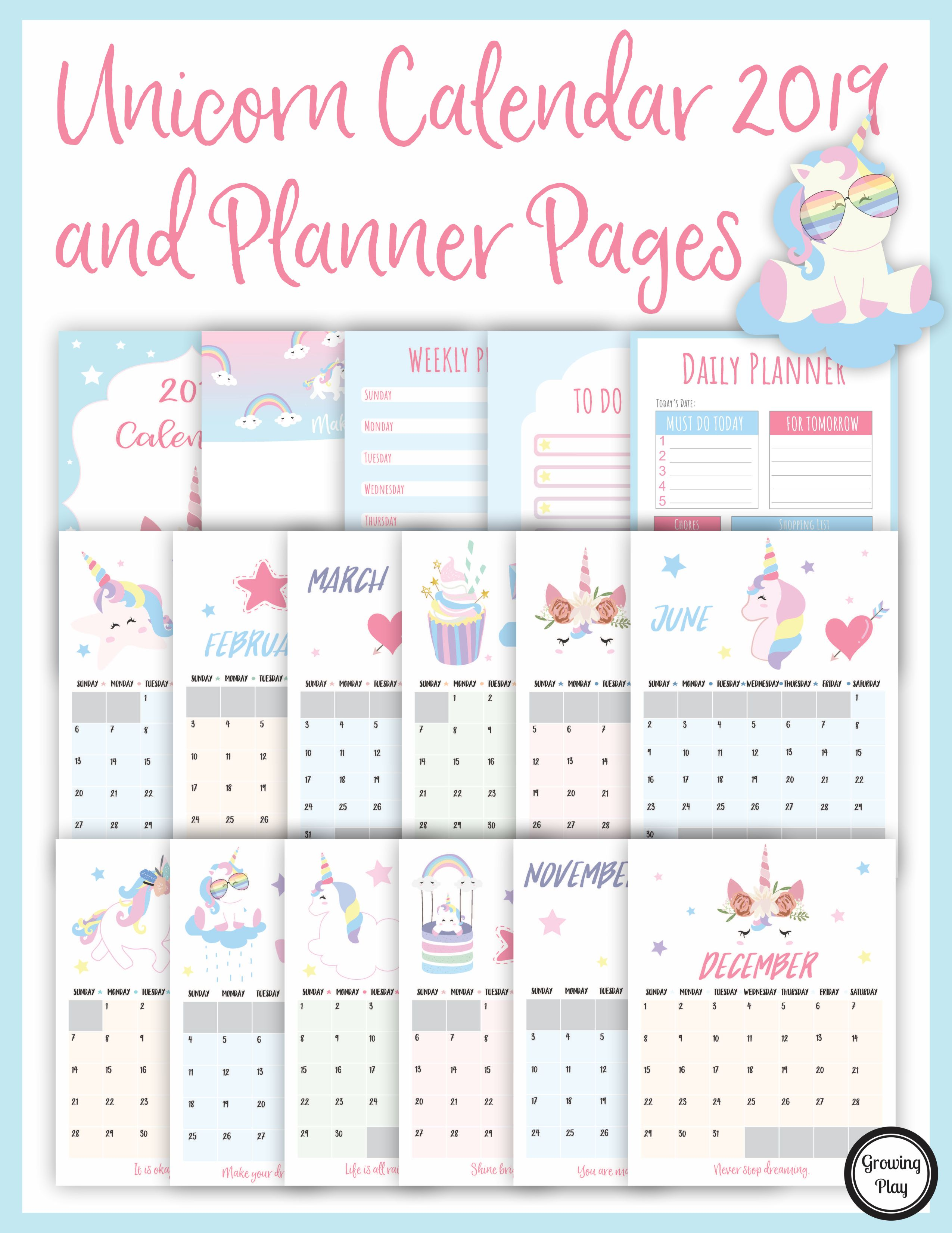 Unicorn Calendar 2019 And Unicorn Planner Pages Growing Play