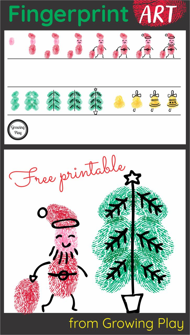 I love fingerprint art!  It is so simple to create and cute.  This FREE Christmas fingerprint art printable includes the step by step directions to create a fingerprint Santa, Christmas tree, and holiday bell. Download the free printable at the bottom of the post.