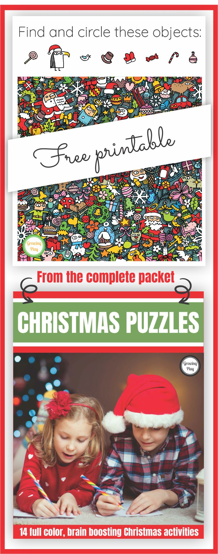 Are you looking for a FUN, brain-boosting activity to entertain the kids this Christmas? Here is a look and find Christmas free printable from Growing Play. You can download it at the bottom of the post.