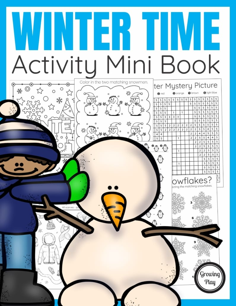 The Winter Activity Book digital download includes super FUN puzzles, coloring pages, and mazes to entertain the kids this Winter season.