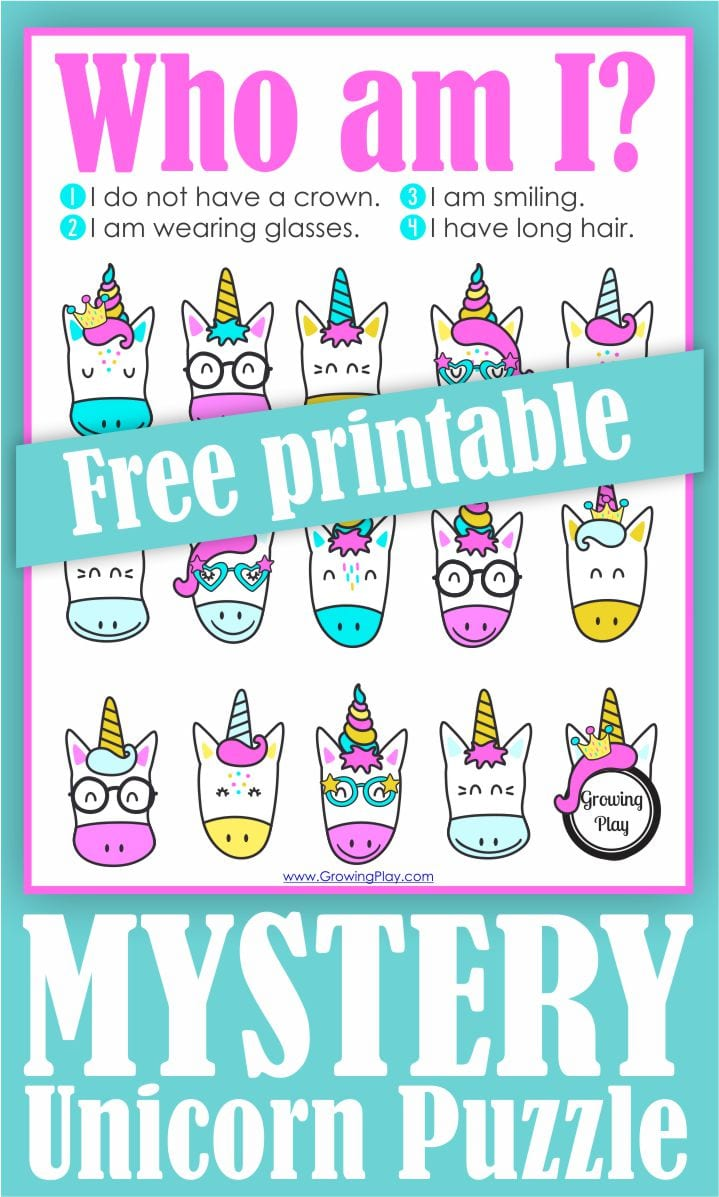 Here is a super CUTE and fun free unicorn printable for the kids to solve the unicorn mystery.  It involves logic, attention to detail and visual motor skills.
