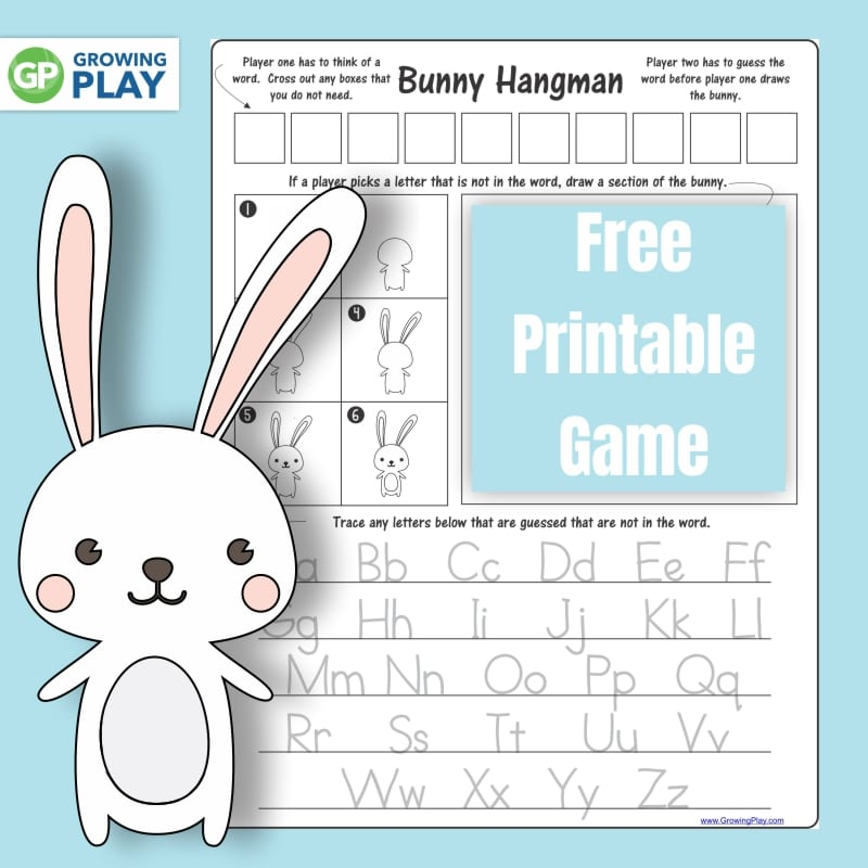 graphic relating to Printable Hangman named Bunny Activity for Little ones - Escalating Engage in