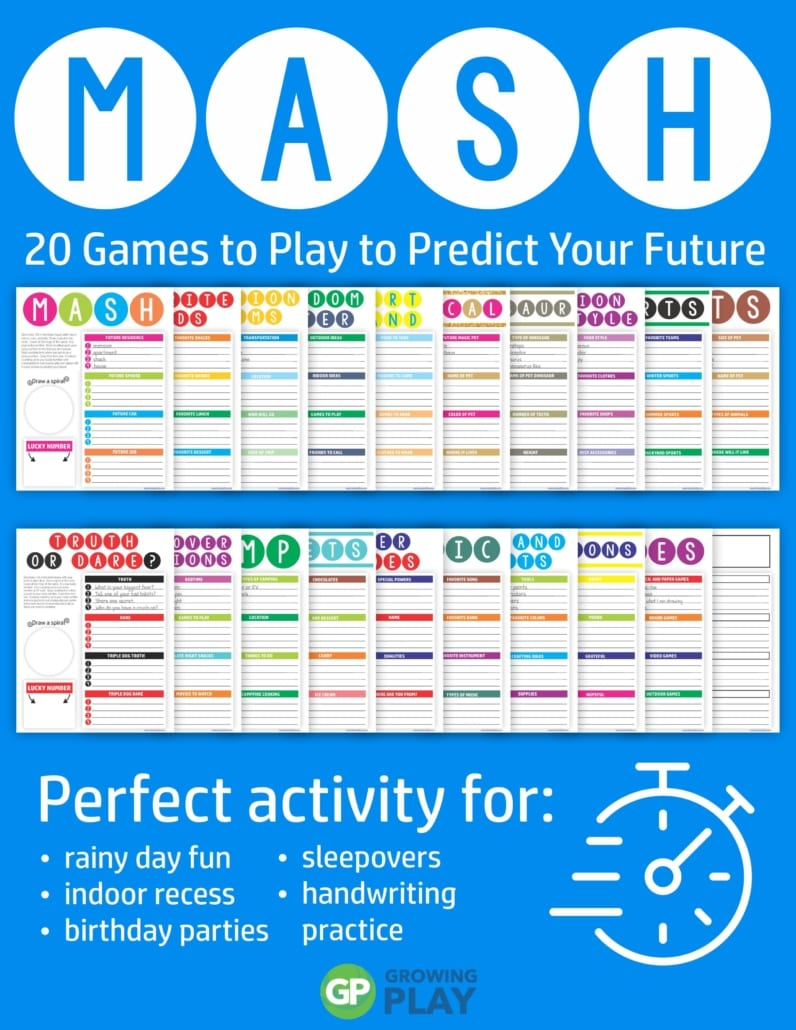 The MASH Game digital download includes 20 super fun games to predict your future.  This game is perfect for rainy day fun, birthday parties, sleepovers, camping, road trips, indoor recess or anytime your kids are bored.