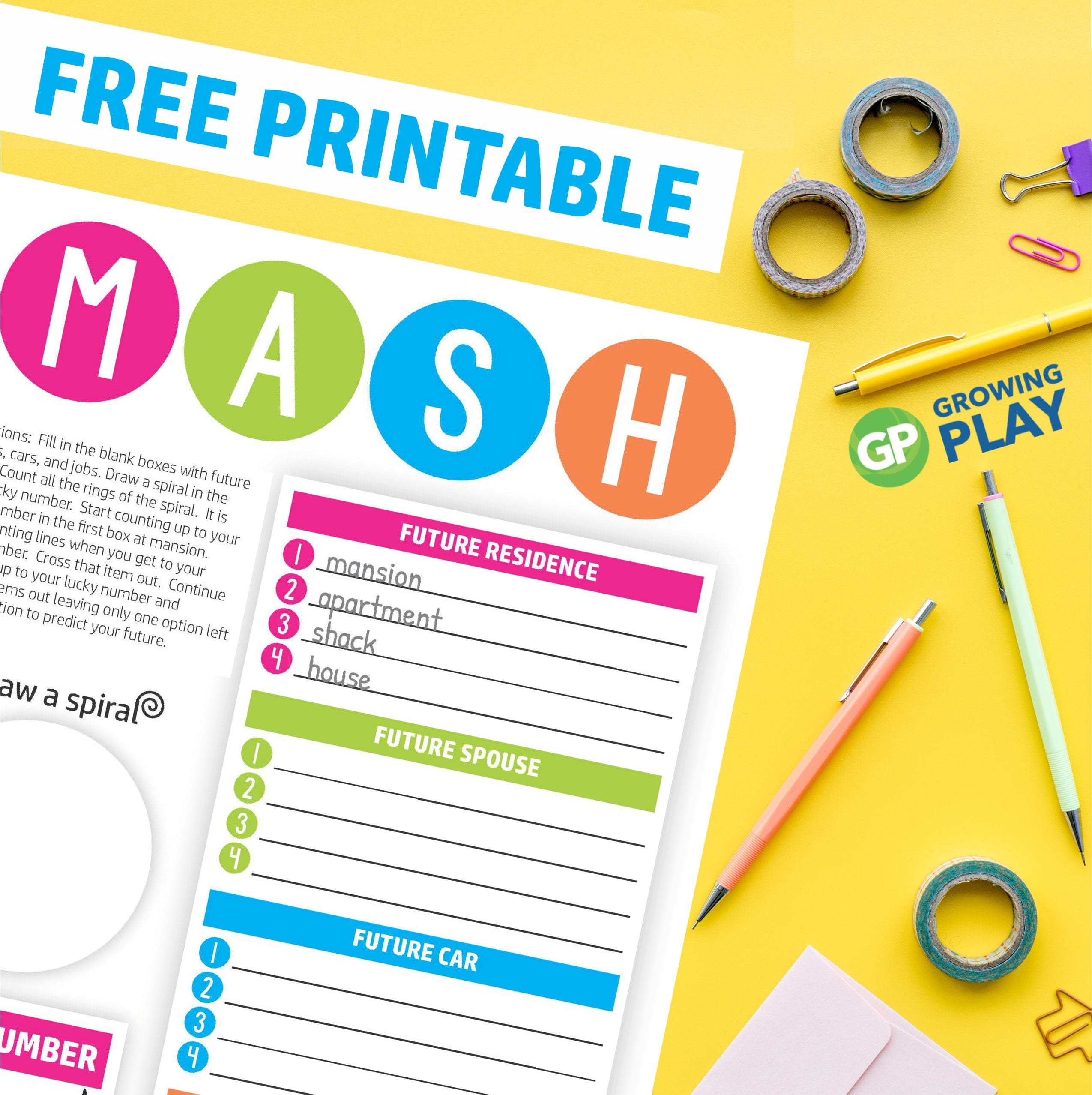 Do you know how to play MASH? It is a fun, quick activity to predict your future with 100% accuracy (just kidding but still FUN)!