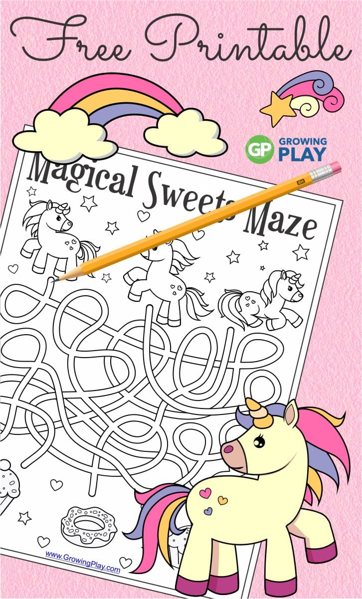 Unicorn Maze Printable From Growing Play Growing Play