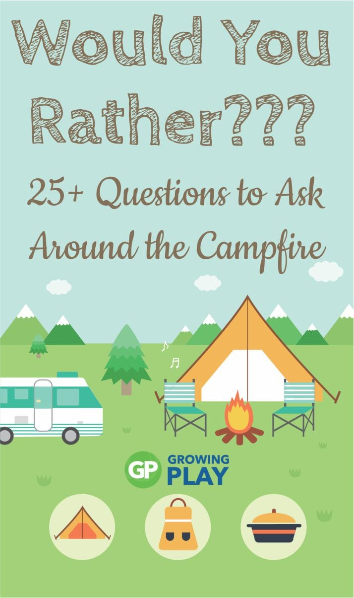 Here is a fun family camping activity - would you rather camping style questions to ask around the campfire from Growing Play.