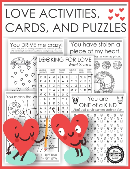 The Love Puzzle Packet digital download includes 20 printable (black and white) love activities, cards and puzzles to give to someone you admire or appreciate.