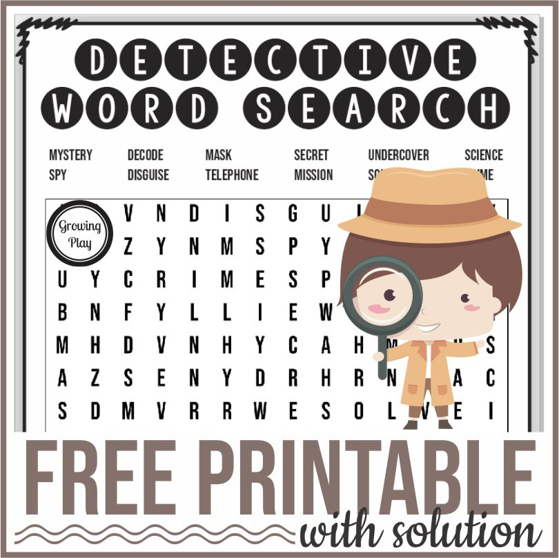 Detective Word Search Freebie from Growing Play