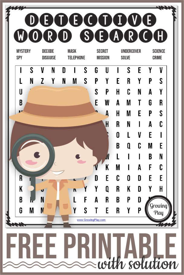 If you are having a detective themed lesson or party, you will want to get this FREE detective word search puzzle.