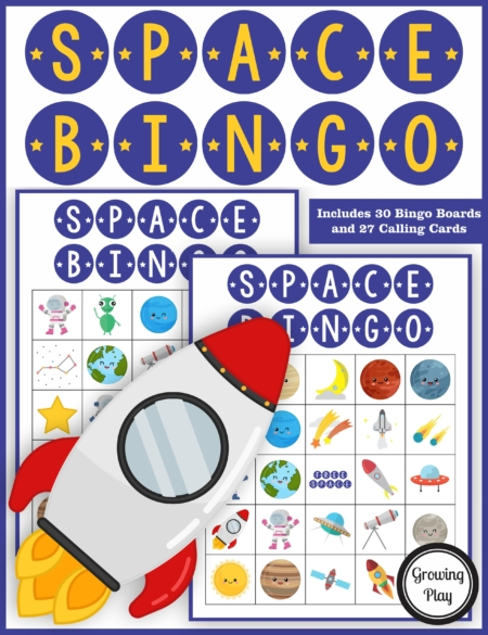 The Space Bingo PDF printable game is so much fun for your space theme classroom, space birthday party or anytime for your whole class or a large group.