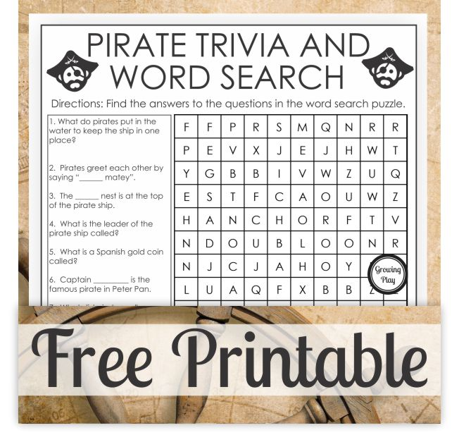 This pirate word search and pirate trivia is a FREE one page puzzle for your entertainment. Combine learning and fun with this free puzzle.
