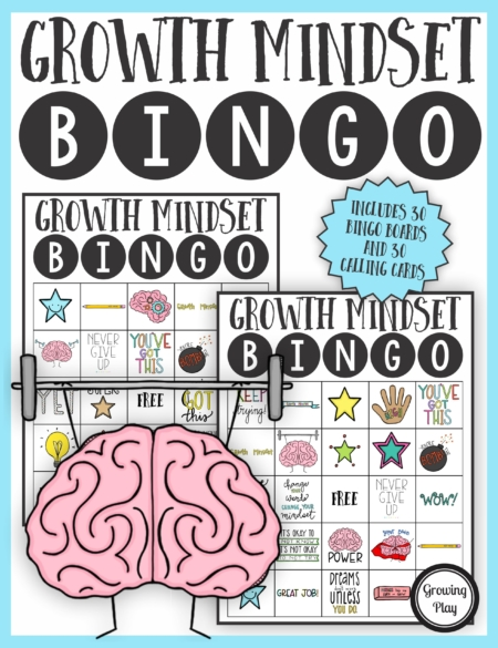 The Growth Mindset Bingo PDF printable game is so much fun to help reinforce and teach children about developing a growth mindset.