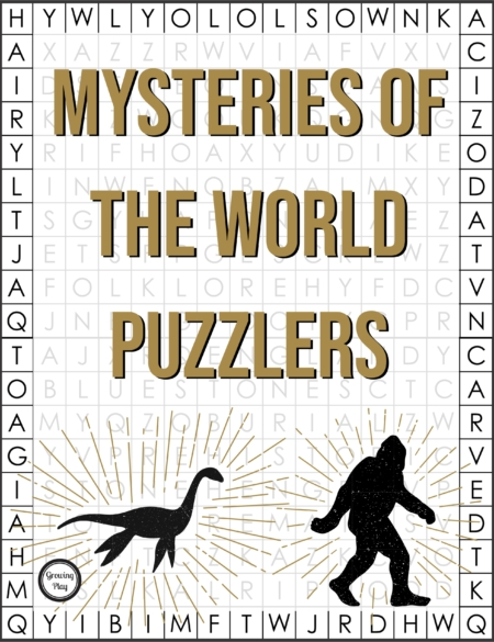 The Mysteries of the World Word Search Puzzler Packet includes 10 pages of information on unsolved mysteries and word searches on each mystery.