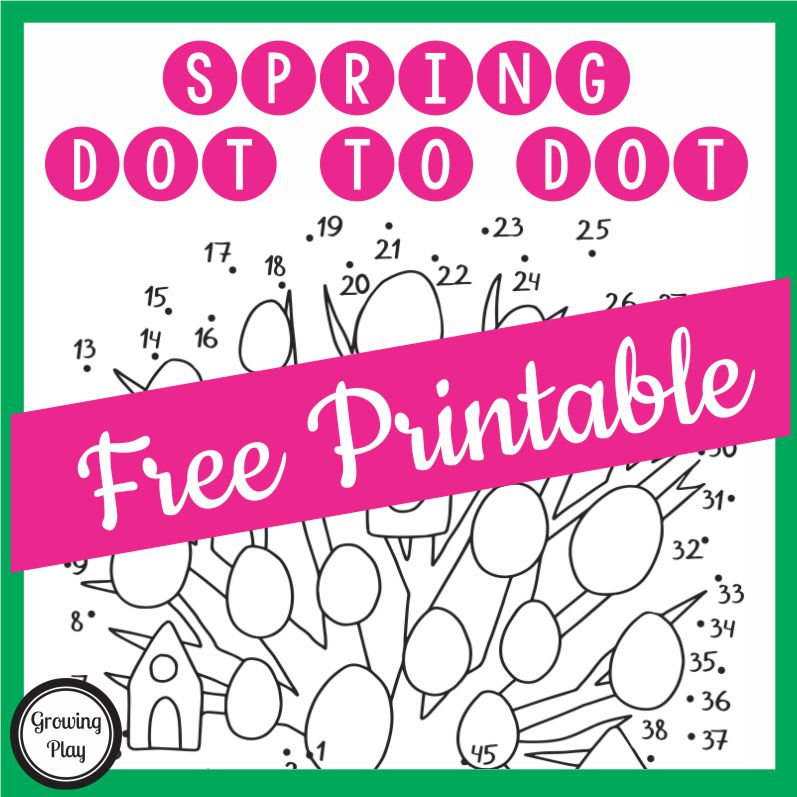 This free printable Spring dot to dot puzzle is perfect for this time of year.  It includes numbers and letters! From Growing Play.