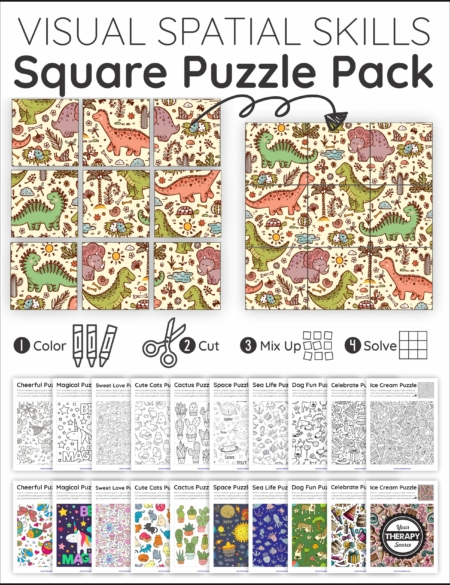 The Visual Spatial Puzzles – Square Puzzles Pack includes 11 puzzles to challenge the ability to visually perceive two or more objects in relation to each other.