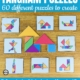 Are you looking for a visual-spatial, visual motor, math, and fine motor challenge?  The Tangram Puzzles for Kids includes 60 different puzzles to print and solve.