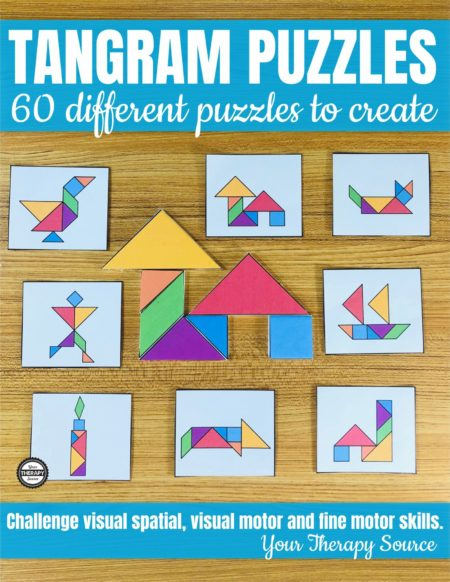 Are you looking for a visual-spatial, visual motor, math, and fine motor challenge? TheTangram Puzzles for Kidsincludes 60 different puzzles to print and solve.
