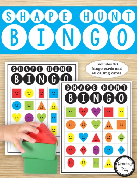 The Shape Hunt Bingo PDF printable game is so much fun to play to move and learn about shapes. The set includes 40 calling cards with full color pictures and 30 Bingo boards in color.
