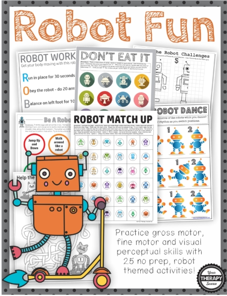 The Robot Puzzles and Games digital download includes 25 games, activities and puzzles to encourage playtime, visual perceptual skills, fine motor skills, and physical activity all with a robot theme! Perfect for any robot loving child!