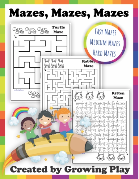 This printable Mazes PDF packet includes 30 different black and white mazes from easy to difficult.