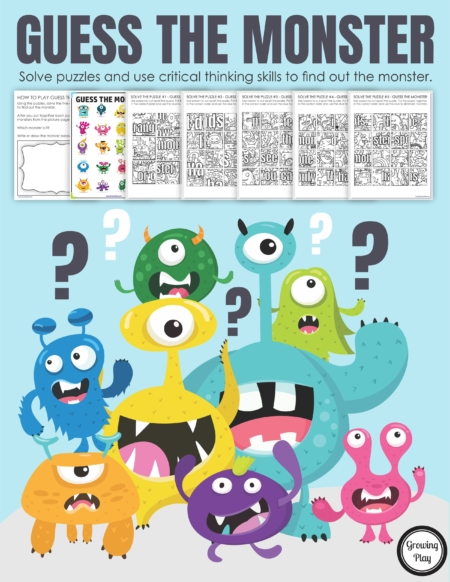 Try this Guess the Monster Puzzle. You will need critical thinking skills, scissors and visual spatial skills to find the correct monster.