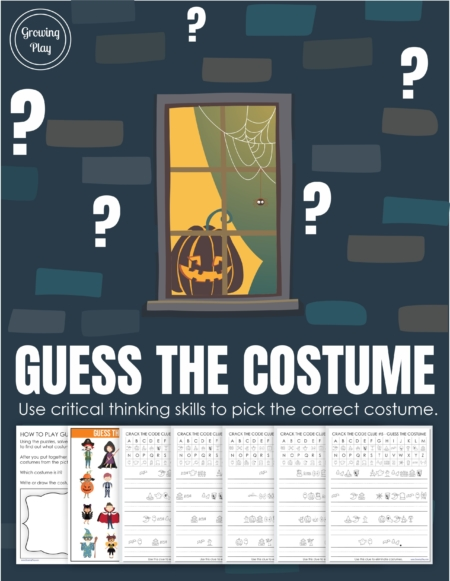 This Guess the Costume mystery puzzle includes 5 clues to solve to find out what costume the child is wearing. Perfect for Halloween