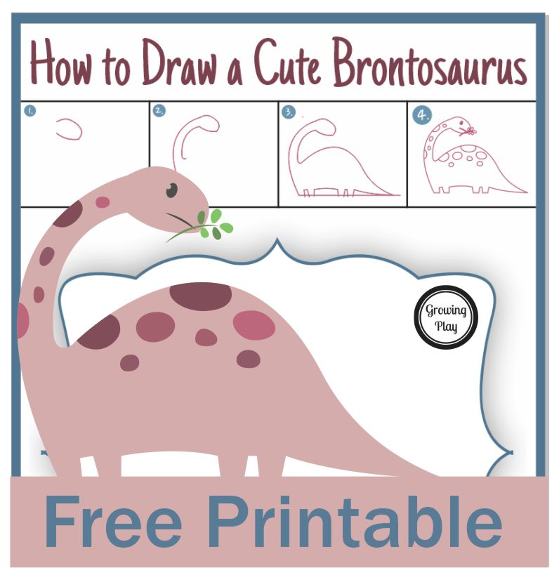 Do you want to learn how to draw a brontosaurus? Here is a super easy and cute dinosaur to draw in 4 easy steps.