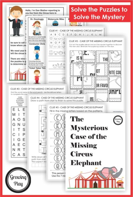 The Circus Worksheets Mystery Puzzle pack asks children to solve The Mysterious Case of the Missing Elephant.  Use the five clues to solve why the elephant left the circus.