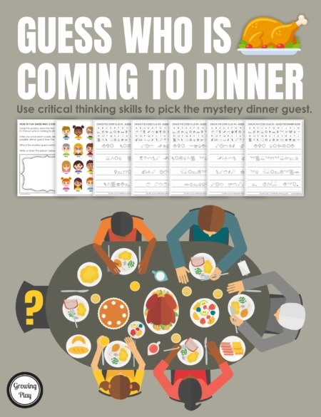 This Guess Who Is Coming to Dinner mystery puzzle includes 5 clues to solve to find out the mystery dinner guest. Perfect for Thanksgiving or anytime of year!