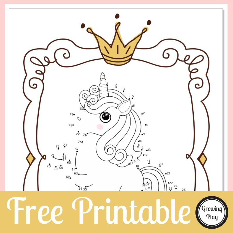 Looking for a quick, connect the dots unicorn printable to entertain the kids? This dot to dot unicorn activity is a FREE printable
