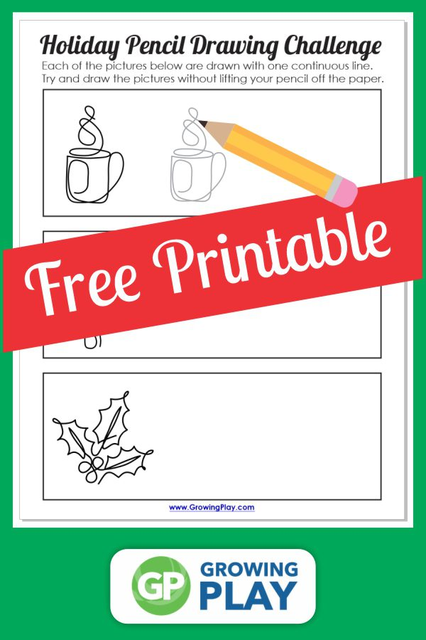 Looking for a fun Christmas drawing challenge? This free printable is ready to go to see if you can complete these drawings without lifting your pencil off the paper.
