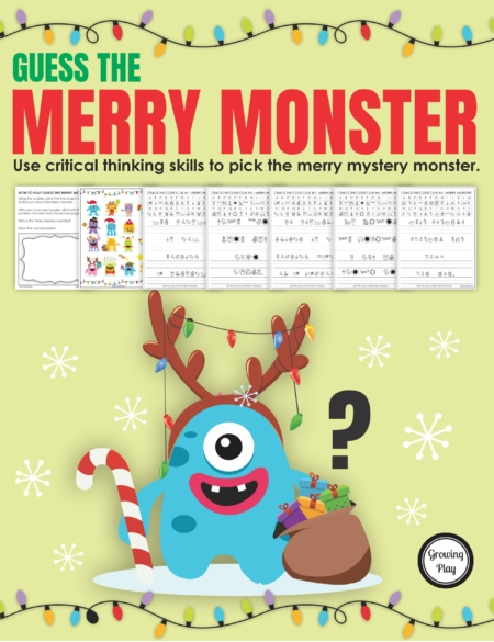 Want to challenge kids to solve this Merry Mystery Monster puzzle?  This Guess Who mystery puzzle includes 5 clues to solve to find out the mystery holiday monster guest.