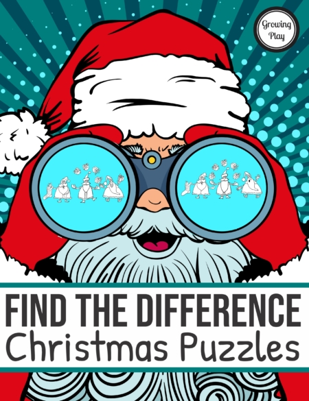 The Christmas Find the Difference digital download includes 16 find the differences puzzles with a fun holiday theme and the solutions to the puzzles.