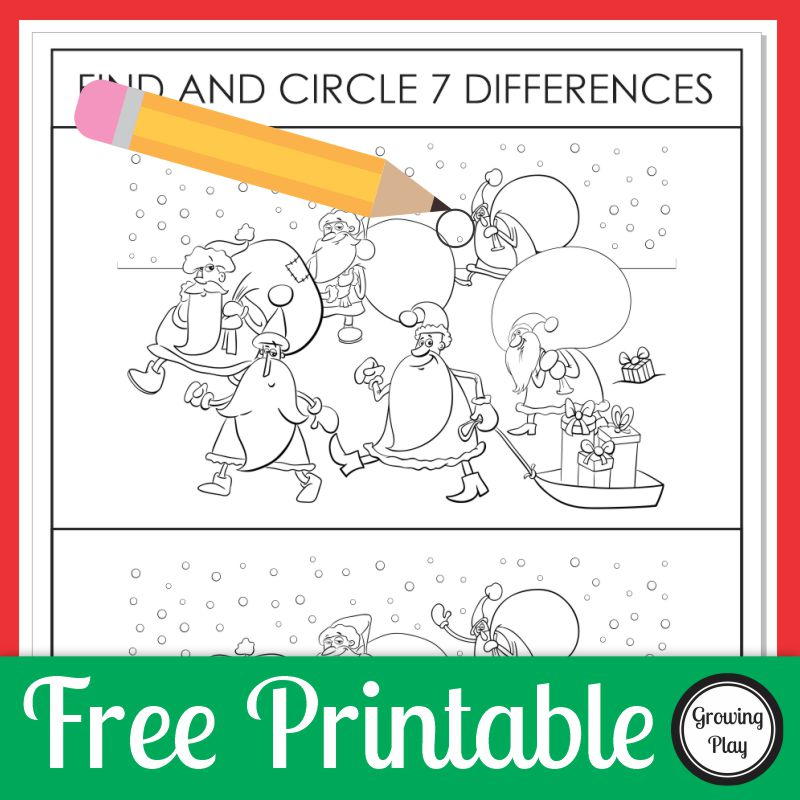 This Christmas Spot the Difference free printable is ready to go to see if you can find and circle the seven differences between the two Santa pictures.