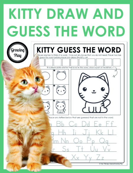 Want to learn how to draw a cute kitten and play a game all at one time? This Kitty Guess Draw and Guess the Word game does just that!