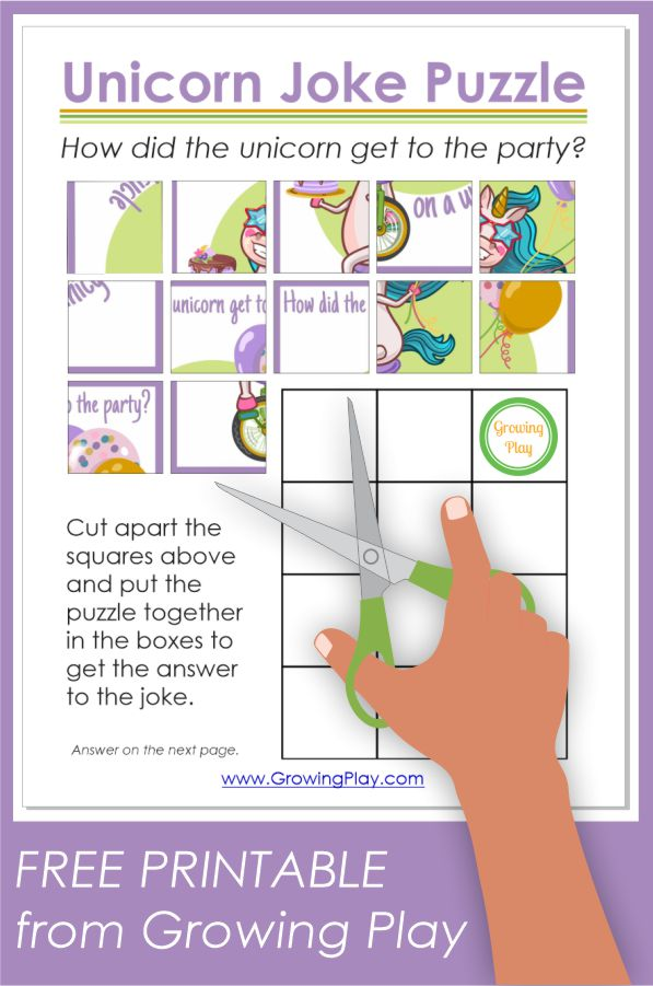 Unicorn Joke Puzzle - Free Printable from Growing Play